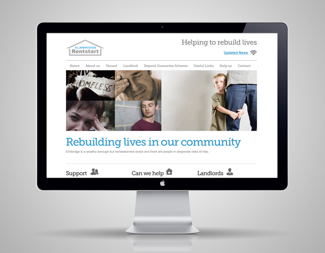 Website design for Elmbridge and Spelthorne Rentstarts